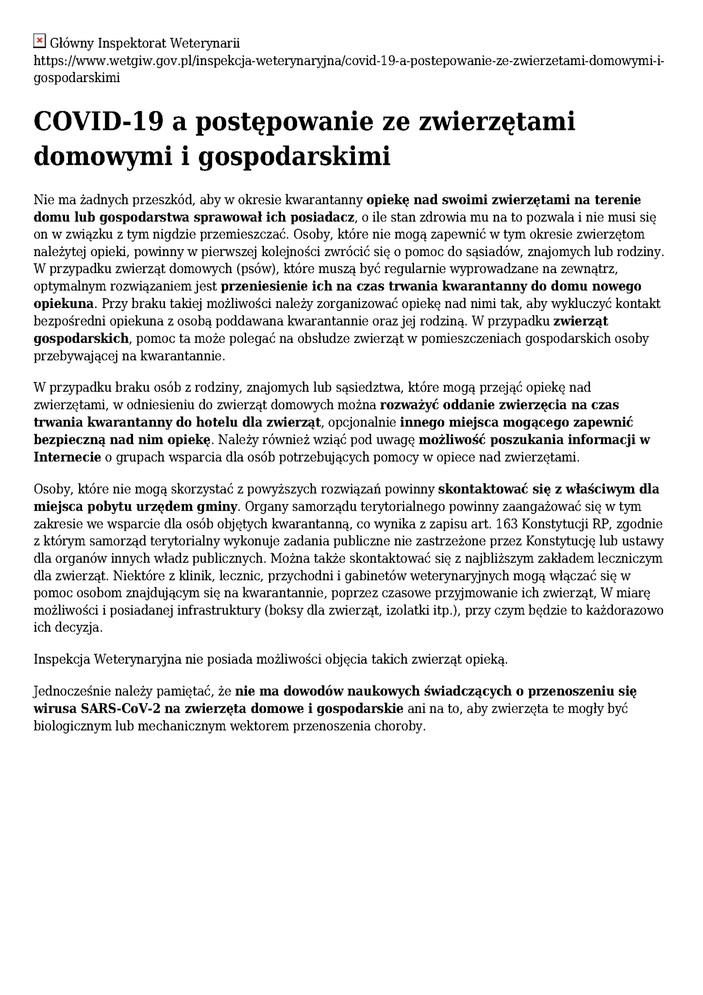 COVID-19 a postępowanie ze zwierzętami domowymi i gospodarskimi.   Informacje Gł...