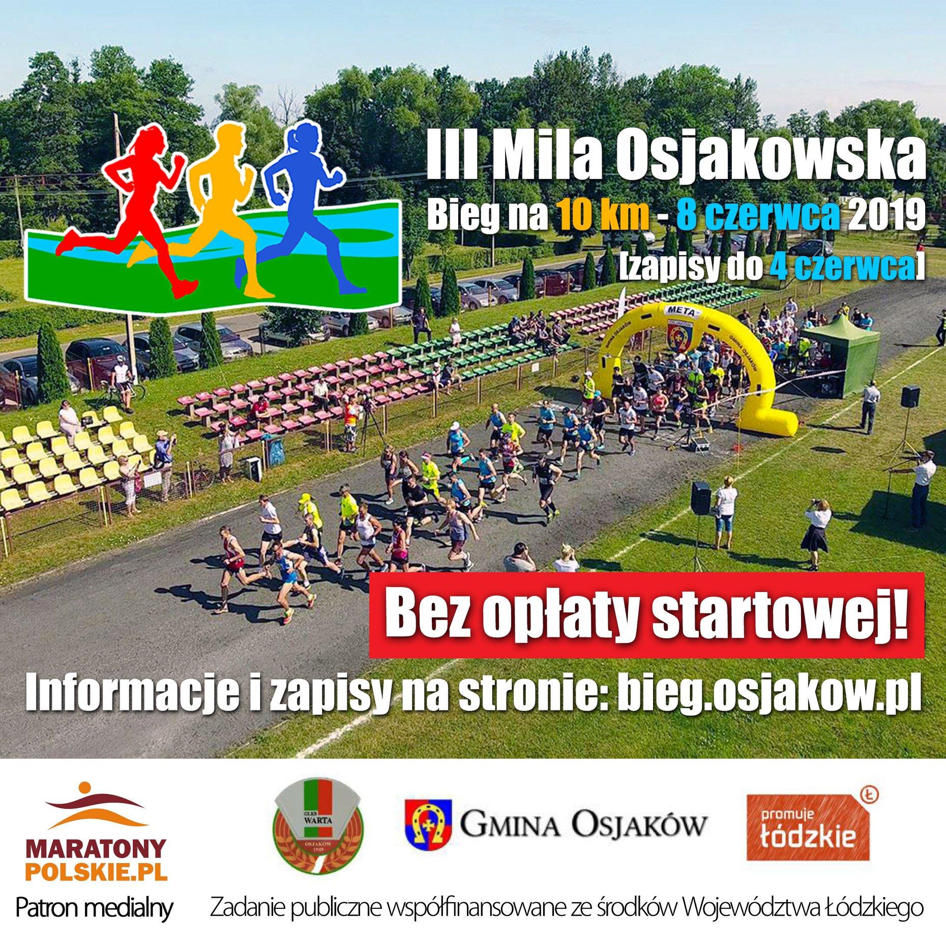 Bieg na 10 km w Osjakowie. Udział w biegu jest bezpłatny, nie ma opłaty startowe...