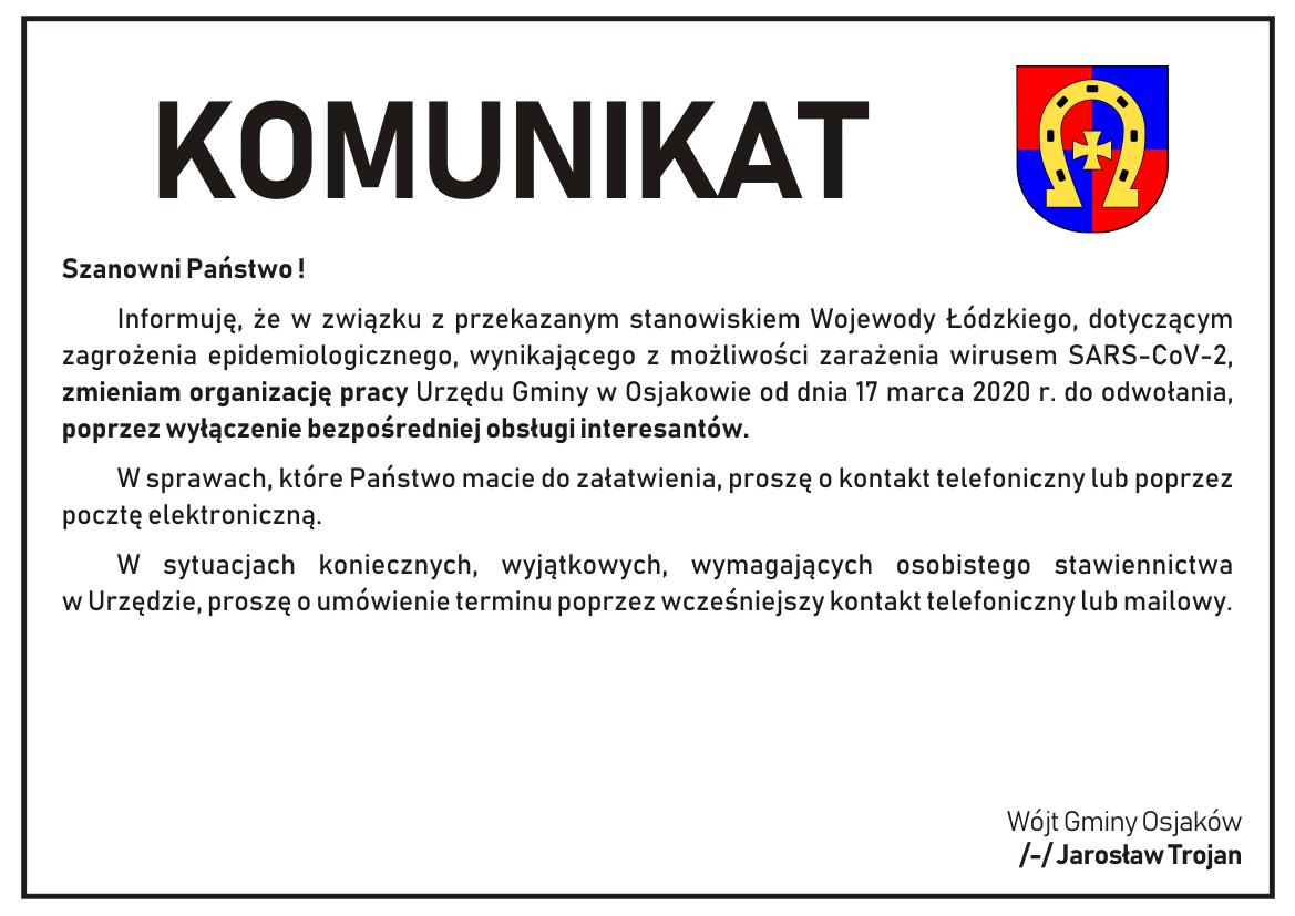 Szanowni Państwo !   Informuję, że w związku z przekazanym stanowiskiem Wojewody...