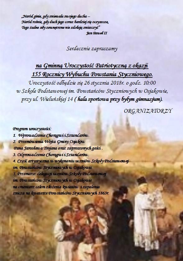 Zapraszamy serdecznie na 155. rocznicę powstania styczniowego