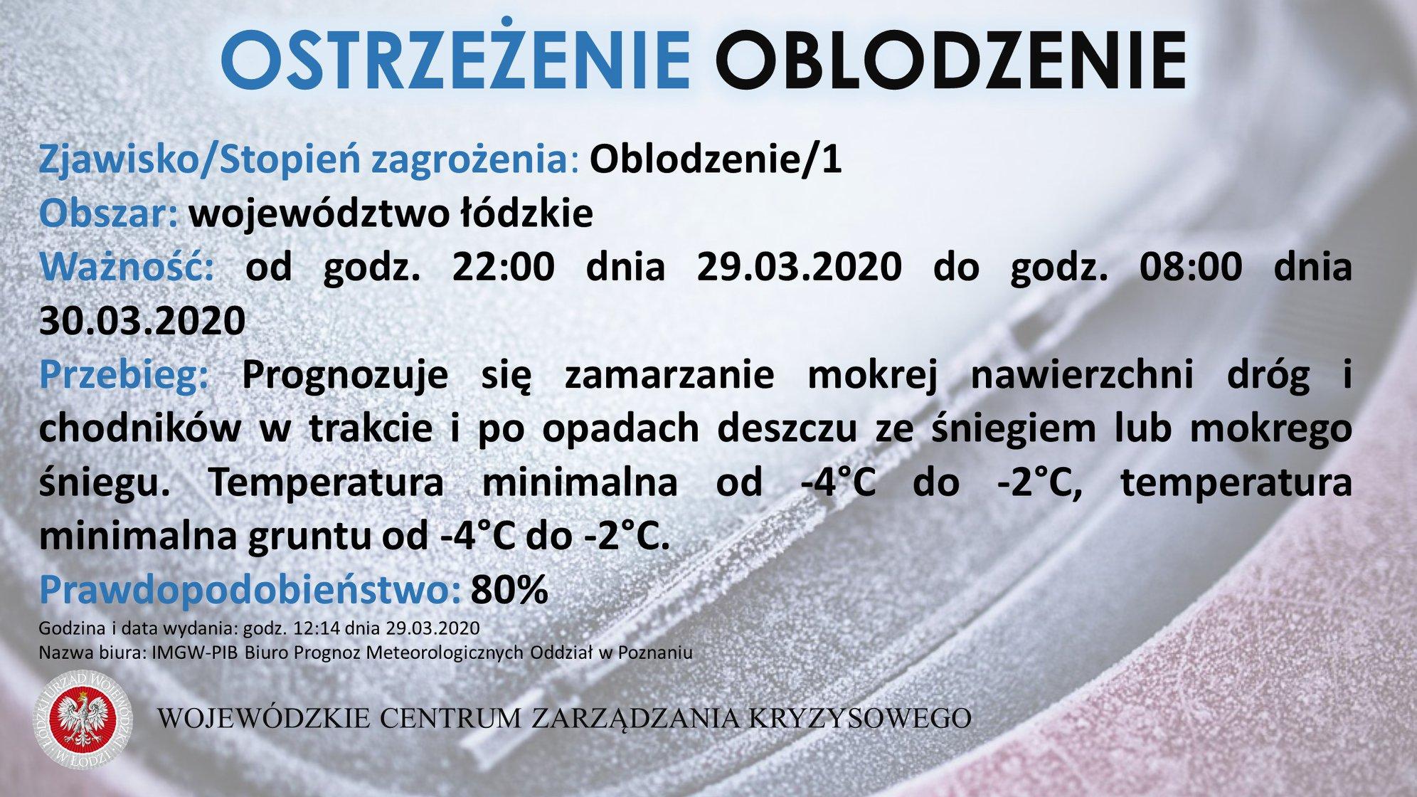 Zjawisko/Stopień zagrożenia: Oblodzenie/1  Obszar: województwo łódzkie  Ważność:...