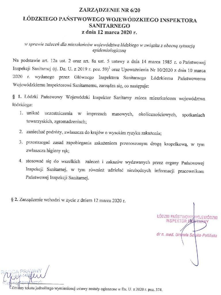 zarzadzenie nr6 lpwis - Zarządzenie wsprawie zaleceń dla mieszkańców województwa łódzkiego