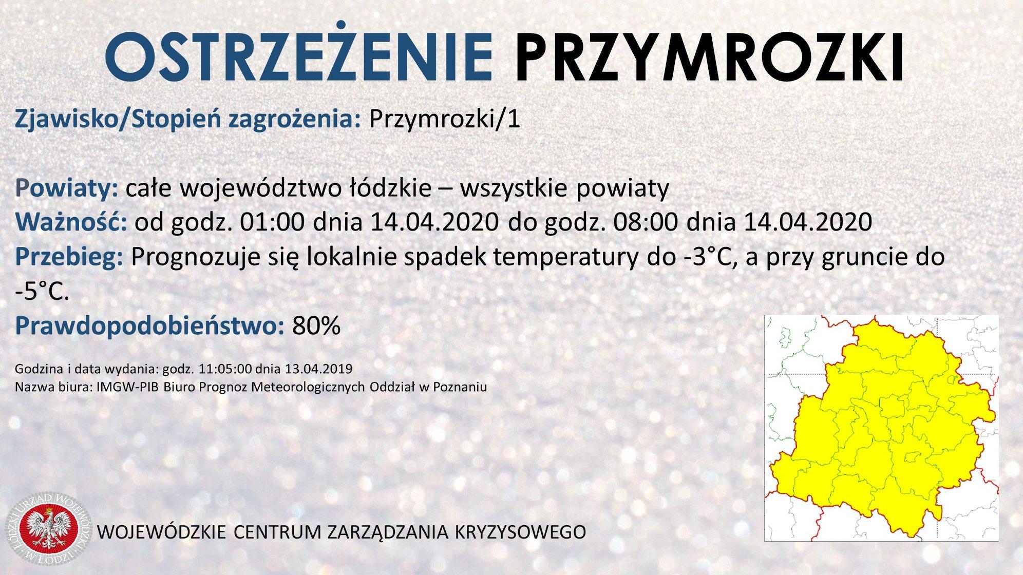 Ostrzeżenie meteorologiczne   Zjawisko/Stopień zagrożenia: Przymrozki/1  Obszar:...
