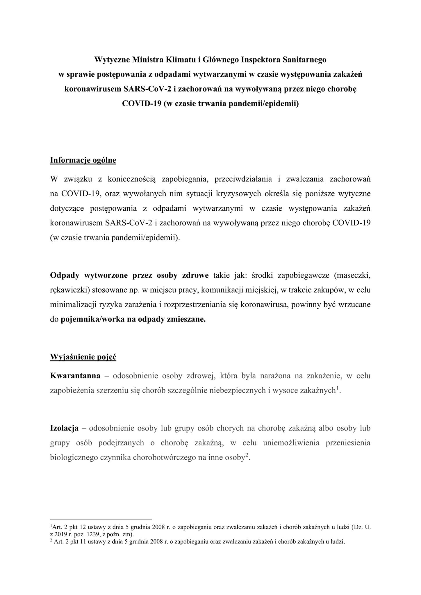 Wytyczne Ministra Klimatu i Głównego Inspektora Sanitarnego  w sprawie postępowa...