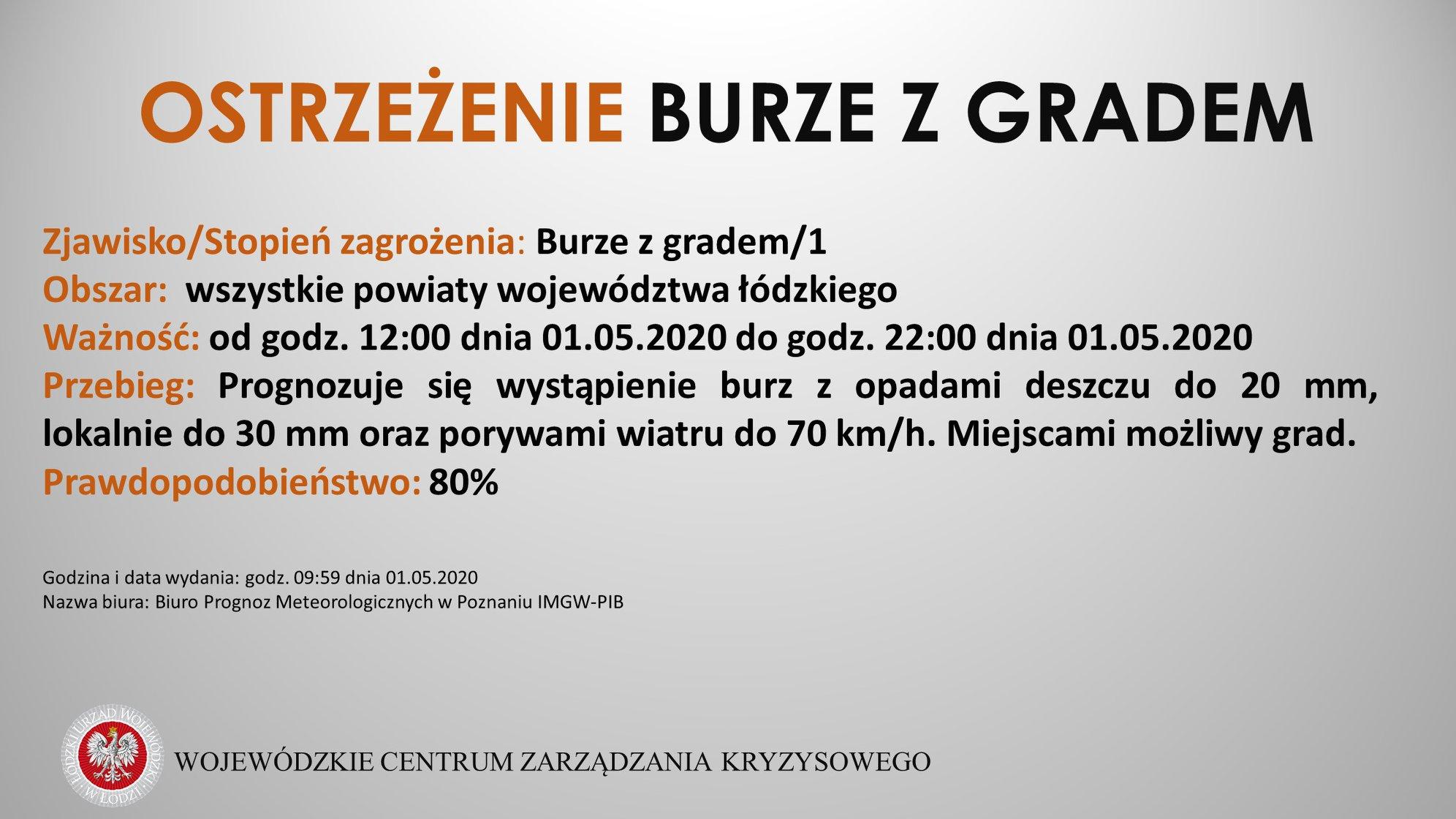 OSTRZEŻENIE Burze z gradem  Zjawisko/Stopień zagrożenia: Burze z gradem/1  Powia...