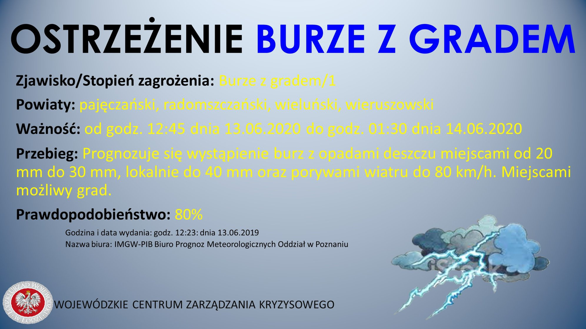 Ostrzeżenie meteorologiczne  Zjawisko/Stopień zagrożenia: Burze z gradem/1  Powi...