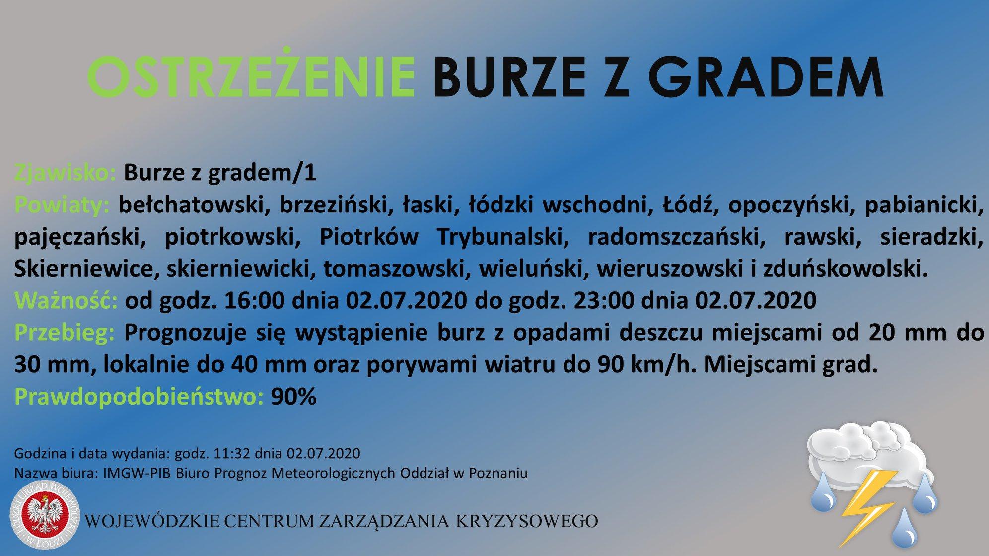 OSTRZEŻENIE Burze z Gradem   Zjawisko/Stopień zagrożenia: Burze z gradem/1   Pow...