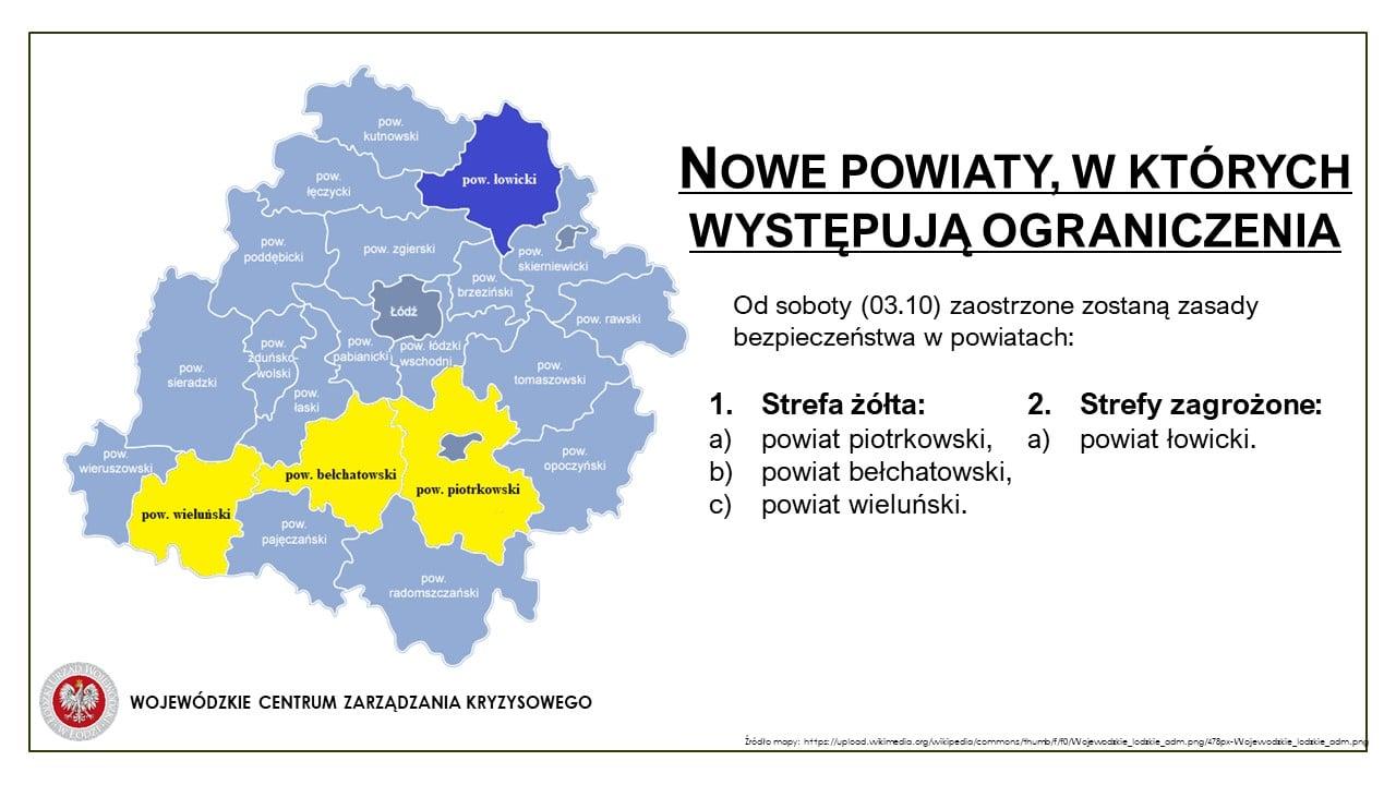 Gmina Osjaków, wraz z całym powiatem wieluńskim, znalazła się w strefie żółtej