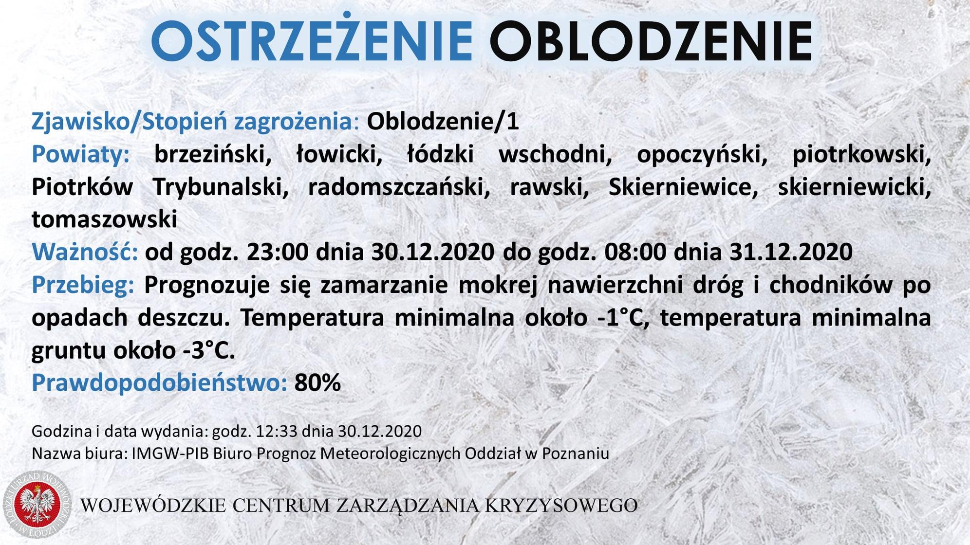 Ostrzeżenie meteorologiczne:  Zjawisko/Stopień zagrożenia: Oblodzenie/1  Powiaty...
