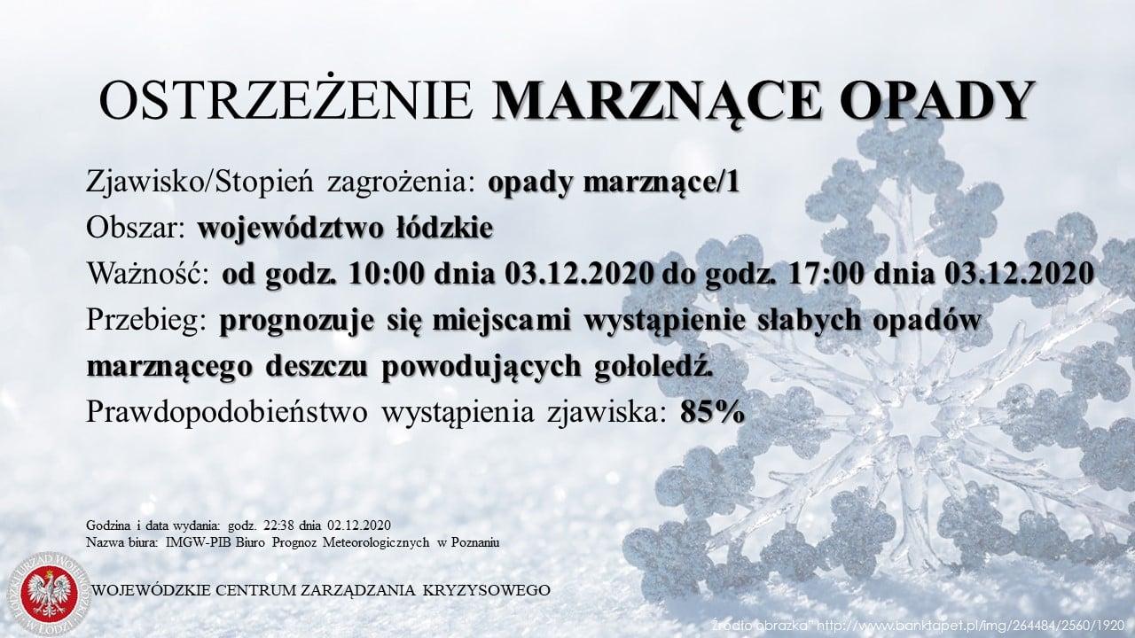 Ostrzeżenie meteorologiczne  Zjawisko/Stopień zagrożenia: opady marznące/1  Obsz...