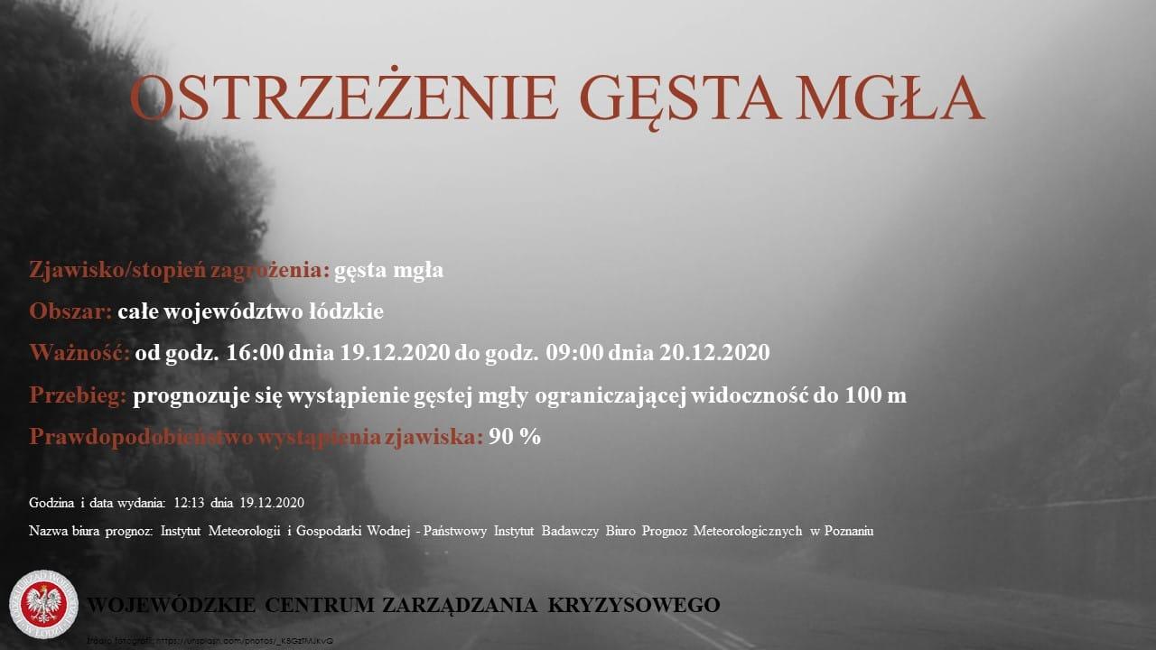 Ostrzeżenie meteorologiczne: gęsta mgła    Zjawisko/stopień zagrożenia: gęsta mg...