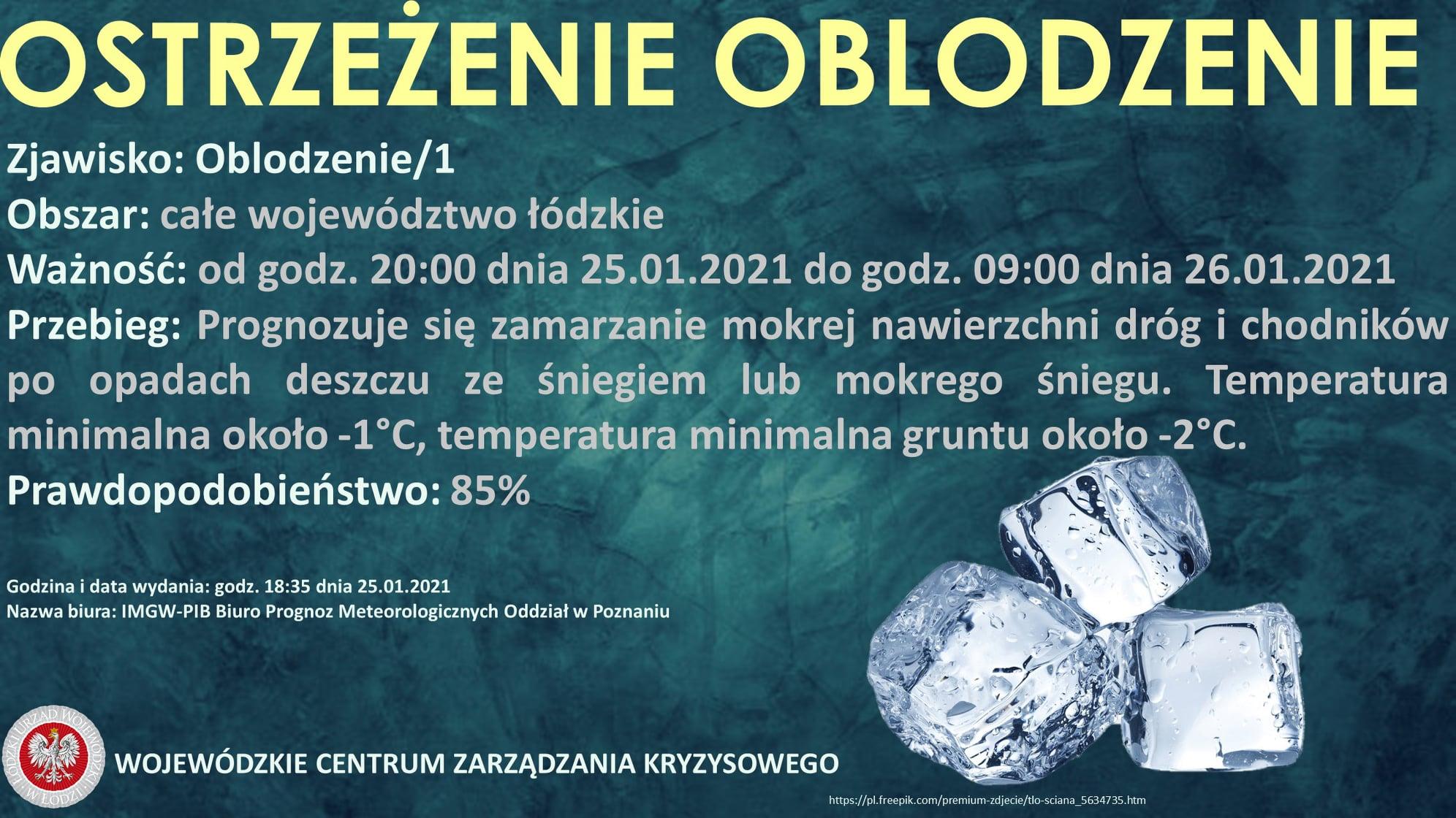 Ostrzeżenie meteorologiczne   Zjawisko: Oblodzenie/1  Obszar: całe województwo ł...