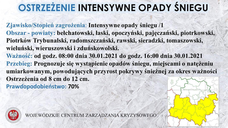 Ostrzeżenie meteorologiczne   Zjawisko: Intensywne opady śniegu /1  Obszar: bełc...