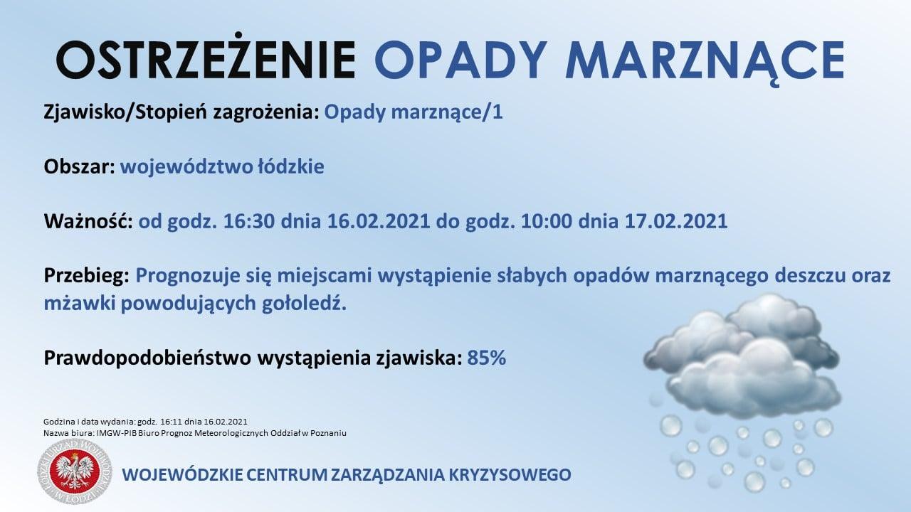 AKTUALIZACJA:  Ostrzeżenie meteorologiczne - Opady marznące  Zjawisko: Opady mar...