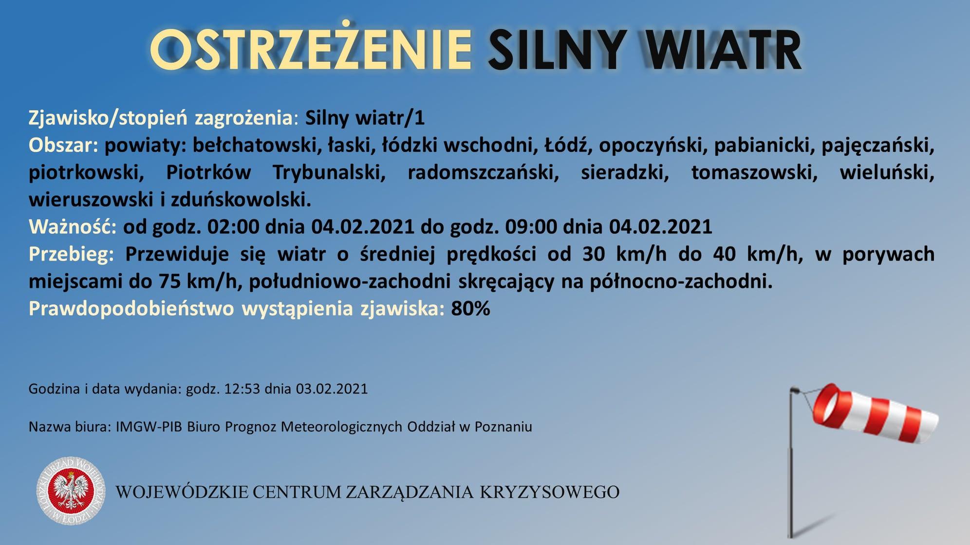 Ostrzeżenie meteorologiczne  Zjawisko: Silny wiatr/1  Obszar: bełchatowski, łask...